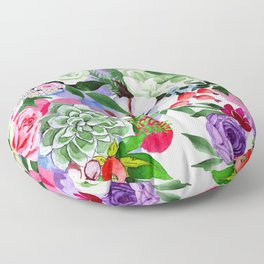 Exquisite Pink, Blue, And Purple Watercolor Floral Print  Floor Pillow