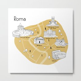Mapping Roma - Yellow Metal Print