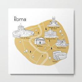 Mapping Roma - Yellow Metal Print