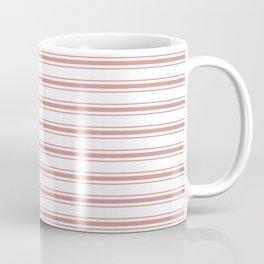 Large Camellia Pink and White Mattress Ticking Stripes Coffee Mug
