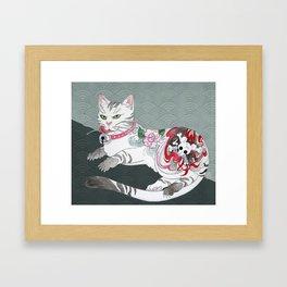 Japanese cat Framed Art Print