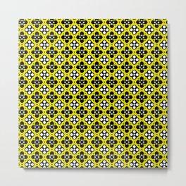 Ornate Yellow & Black Flower Pattern Metal Print