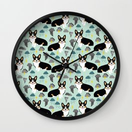Corgi meteorologist storm chaser welsh corgi fun dog breed customary by pet friendly Wall Clock