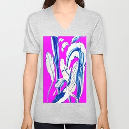 Plant in Blue Marker - Leaf of Life Miracle Leaf - FUCHSIA! Purple? Pink? Unisex V-Neck