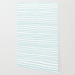 Simply Drawn Stripes Succulent Blue on White Wallpaper