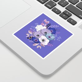Anemones & Gardenia Blue bouquet Sticker