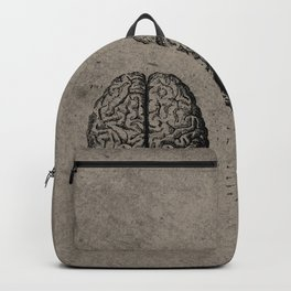 Row o' Brains - Engraving - Vintage - Old Black, White & Brown Backpack
