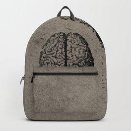 Row o' Brains - Engraving - Vintage - Old Black, White & Brown Backpack