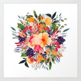 Autumn watercolor bouquet Art Print
