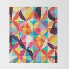 Beautiful colors Geometry, geometric abstract triangles circles squares Throw Blanket