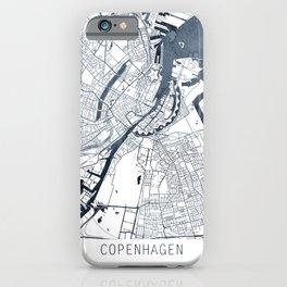 Copenhagen Map Indigo Blue Watercolor by Zouzounio Art iPhone Case