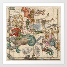 Constellations Andromeda, Pegasus, Cetus and Aries Art Print