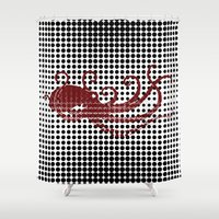 camouflage Shower Curtains featuring Camouflage by cepheart