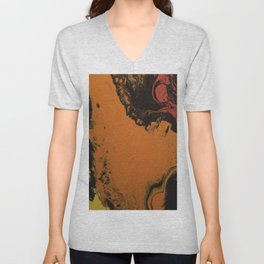 Fluid Art Acrylic Painting, Pour 5, Black, Red, Orange, & Yellow Blended Color Unisex V-Neck