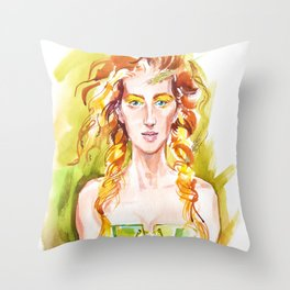 A summer girl Throw Pillow