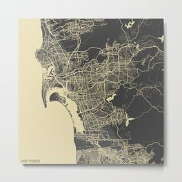 San Diego Map yellow Metal Print