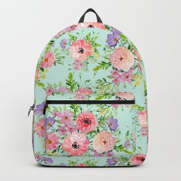 Blooming floral bouquet watercolor hand paint Backpack