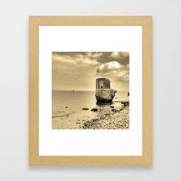 kap arkona sea ruins in magic light desert version Framed Art Print