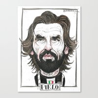 pirlo Canvas Prints featuring ANDREA PIRLO by BANDY