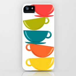 A Teetering Tower Of Colorful Tea Cups iPhone Case