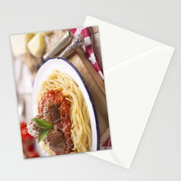 Spaghetti with meatballs and parmesan cheese on a rustic table Stationery Cards
