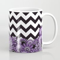 Purple Flower Chevron Mug