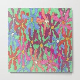 Colorful Retro Floral Print Metal Print