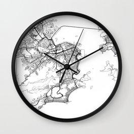Rio de Janeiro Map White Wall Clock