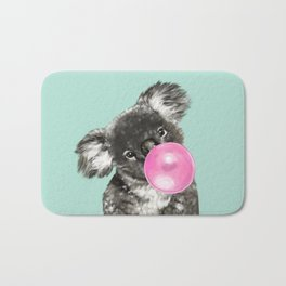 Playful Koala Bear with Bubble Gum in Green Bath Mat
