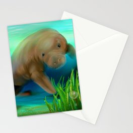 Manatee Illustration Stationery Cards