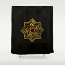 Golden Decorative Star of Lakshmi - Ashthalakshmi Shower Curtain
