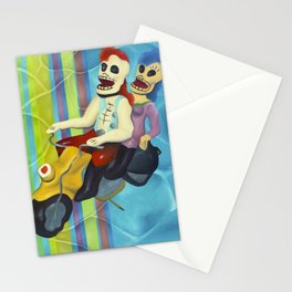 Day of the Dead Mexican Skull Sculpture Motorcycle Ride Stationery Cards
