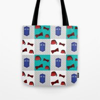 fez Tote Bags featuring Red  & Teal Fez & Bow Tie Quilt Blocks by Bohemian Bear by Kristi Duggins