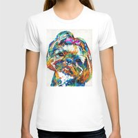 shih tzu T-shirts featuring Colorful Shih Tzu Dog Art By Sharon Cummings by Sharon Cummings