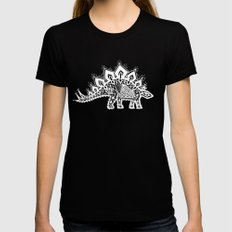 Stegosaurus Lace - White / Silver MEDIUM Womens Fitted Tee Black