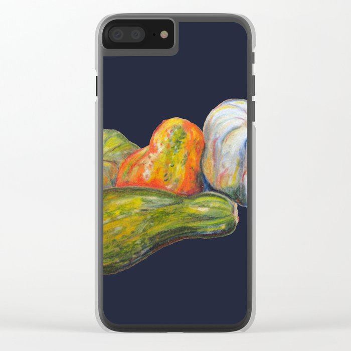 Thanksgiving Pumpkins and Festive Squash for Autumn and the Holidays in Blue Clear iPhone Case