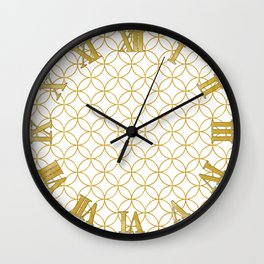 Japanese Traditional Design2 -SHIPPO- White&Gold Wall Clock