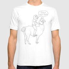 Follow that llama ! White MEDIUM Mens Fitted Tee