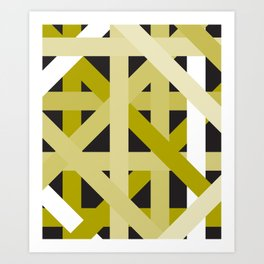 Gold Structural Lines Pattern Art Print