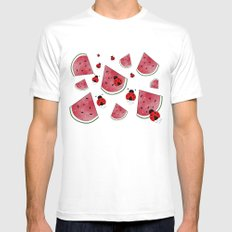Watermelon And Ladybugs Mens Fitted Tee MEDIUM White
