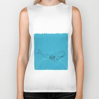 the whale Biker Tanks featuring Whale by David Penela