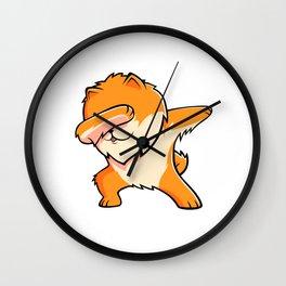 Funny Dabbing Pomeranian Dog Dab Dance Wall Clock