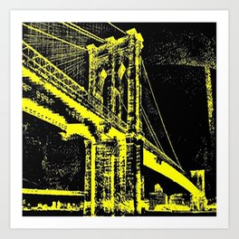 Sketched Brooklyn Bridge Yellow on Black Art Print