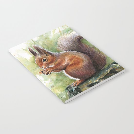 Squirrel Watercolor Painting Notebook