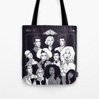 ahs Tote Bags featuring AHS Hotel by Jaimie Hutton