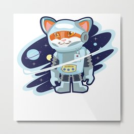 Cat Space Astrology Astrologers Kitten Feline Gift Metal Print