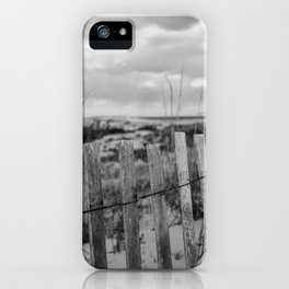 Black and White Beach Fence iPhone Case