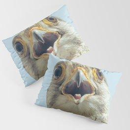 Common Kestrel Portrait Beak Wide Open (Falco tinnunculus) European kestrel. Pillow Sham