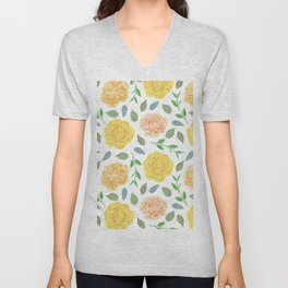 Hand painted yellow coral watercolor modern floral Unisex V-Neck