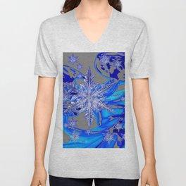 MODERN ROYAL BLUE WINTER SNOWFLAKES GREY ART Unisex V-Neck